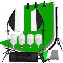Load image into Gallery viewer, 4PCS 25W LED Photo Studio Softbox Soft Box Lighting 4 Backdrop + Backdrop Support Stand Kit
