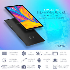 "Teclast P10HD Tablets 10.1"" Android 9.0 Tablet PC 1920x1200 SC9863A Octa Core 3GB RAM 32GB ROM 4G Network AI Speed-up - iKindom"