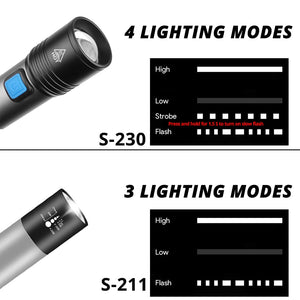 USB Rechargeable LED Flashlight With T6 LED Built-in 1200mAh lithium battery Waterproof camping light Zoomable Torch - iKindom