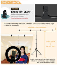 Load image into Gallery viewer, T-Shape Portable Background Backdrop Support Stand Kit Tall Adjustable Photo Backdrop Stand with Spring Clamps - iKindom