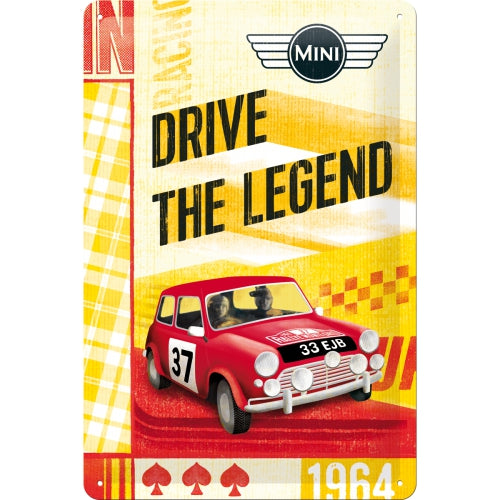 Mini 37 rot  - Drive the Legend - Metallschild 20x30cm