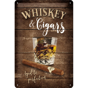 Whiskey & Cigars Metallschild 20x30cm