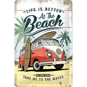 Volkswagen - VW Bulli T1 - Life is better at the Beach - Metallschild 20x30cm