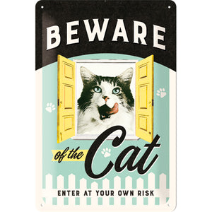 Beware of the Cat - Katzen - Metallschild 20x30cm 22281