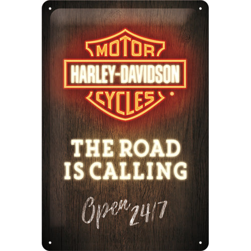 Harley Davidson Motorcycles - The Road is Calling - Metallschild 20x30cm
