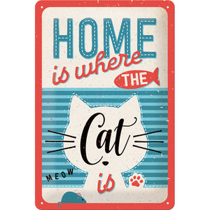 HOME is where the Cat is - Metallschild 20x30cm 22313