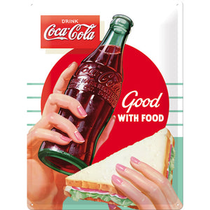 Coca Cola - Good with Food - Metallschild 40x30cm