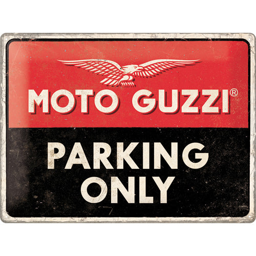 MOTO GUZZI Logo - Parking Only - Metallschild  40x30cm