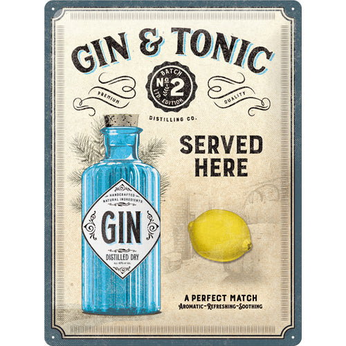 Gin & Tonic Served Here - Metallschild 40x30cm