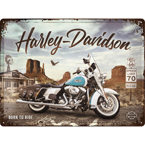 Harley Davidson - Route 66 Road King Classic - Metallschild 40x30cm