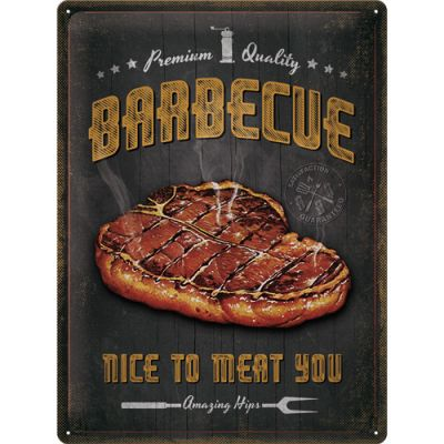 Barbecue - Nice To Meat You - Metallschild 40x30cm