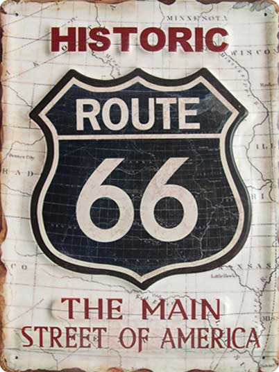 Historic Route 66 The Main Street of America - Metallschild 40x30cm