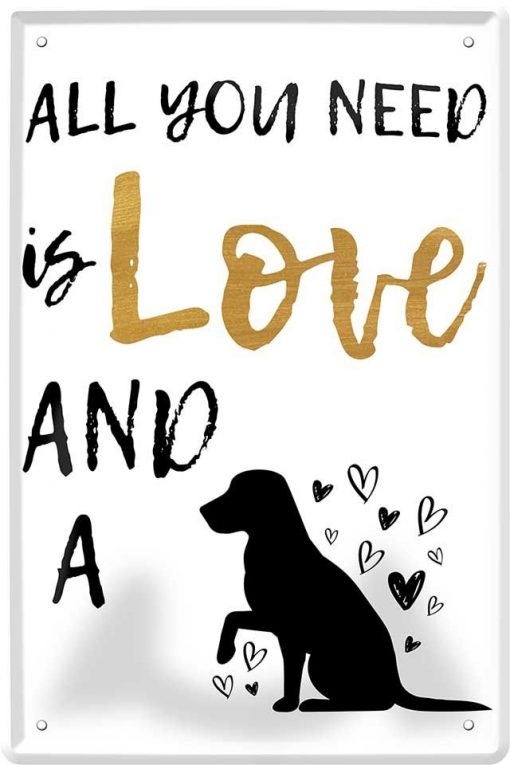 All you need is LOVE and a Dog! – Metallschild 20x30cm C0232