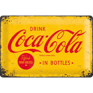 Coca Cola - in Bottles - gelb Metallschild 20x30cm