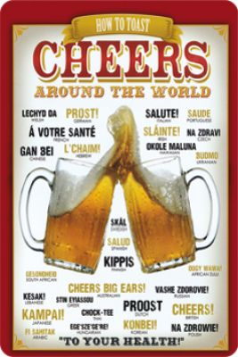 Cheers around the world Metallschild 20x30cm