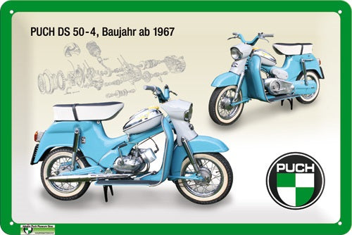 Puch DS 50-4 Gang blau Moped  - Metallschild 20x30cm