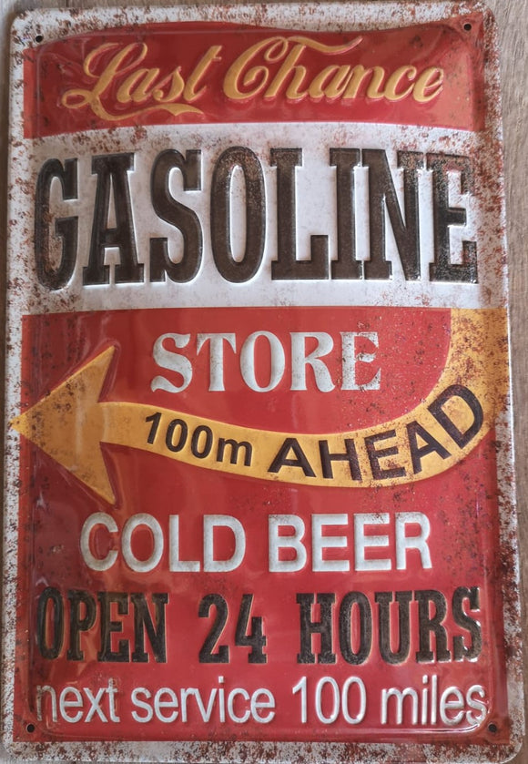 Last Chance Gasoline Store Cold Beer - Metallschild  20x30cm