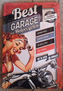 Best Garage for Motorcycles - Metallschild 20x30 cm