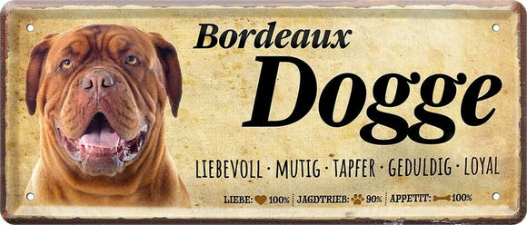 Bordeaux Dogge Hundeschild - Metallschild  28x12cm D0383