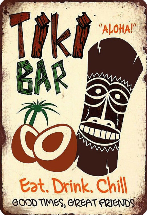Tiki Bar Eat Drink Chill Metallschild 20x30cm