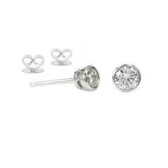 14K White Gold Round-Cut Solitaire Diamond Stud Earrings - 0.22 ctw