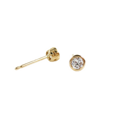 14K Yellow Gold Round-Cut Solitaire Diamond Stud Earrings - 0.22 ctw