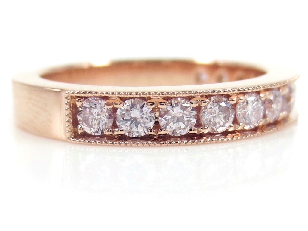 Natural Pink Diamond  Half-eternity Band - Milgrain Edges -  18K Rose Gold