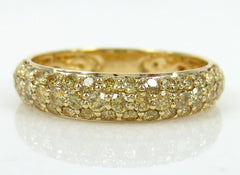 0.82cts Fancy Yellow Diamonds Half-set Domed 3-Row Pave Band