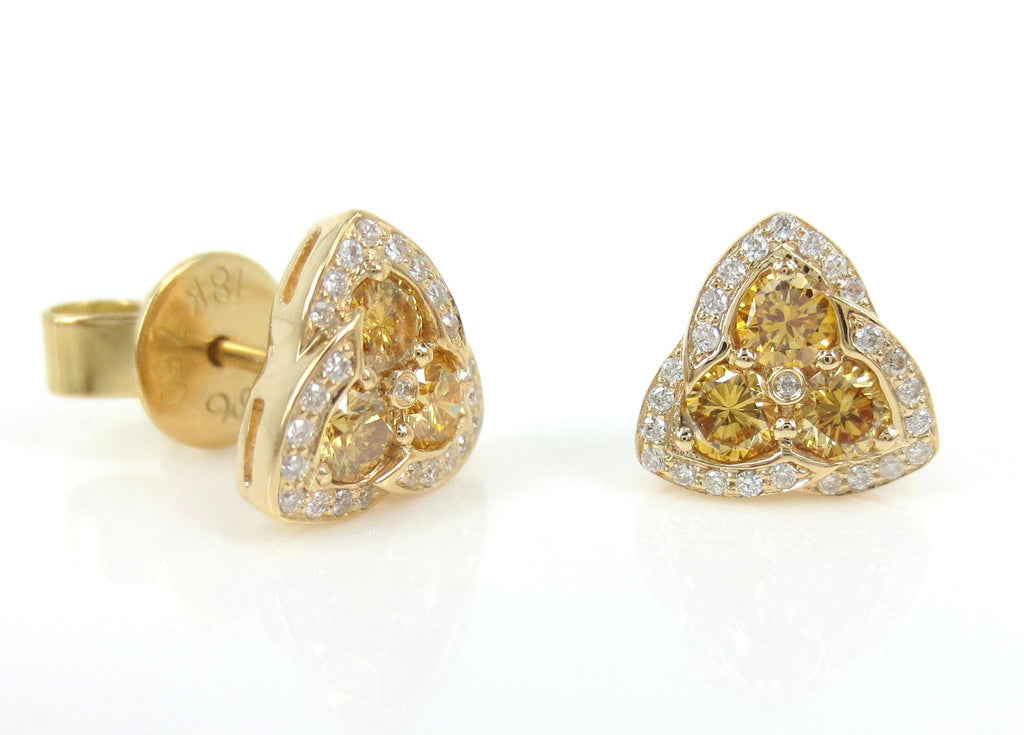 18k Yellow Gold Yellow and White diamond Triangle Earrings - Studs