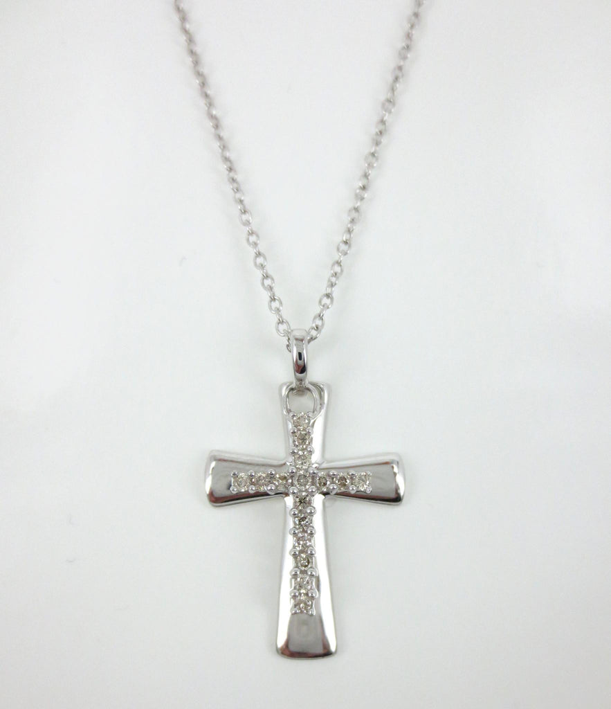 Diamond Pave Double Cross Charm Pendant - 0.12cts T.W