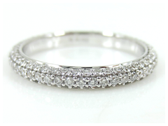 Three Row Micropavé Diamond dome Eternity Wedding Band - 18K White Gold