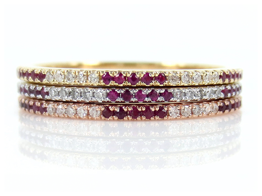 Trio stacking Diamond & Ruby Eternity Bands - 18K Gold