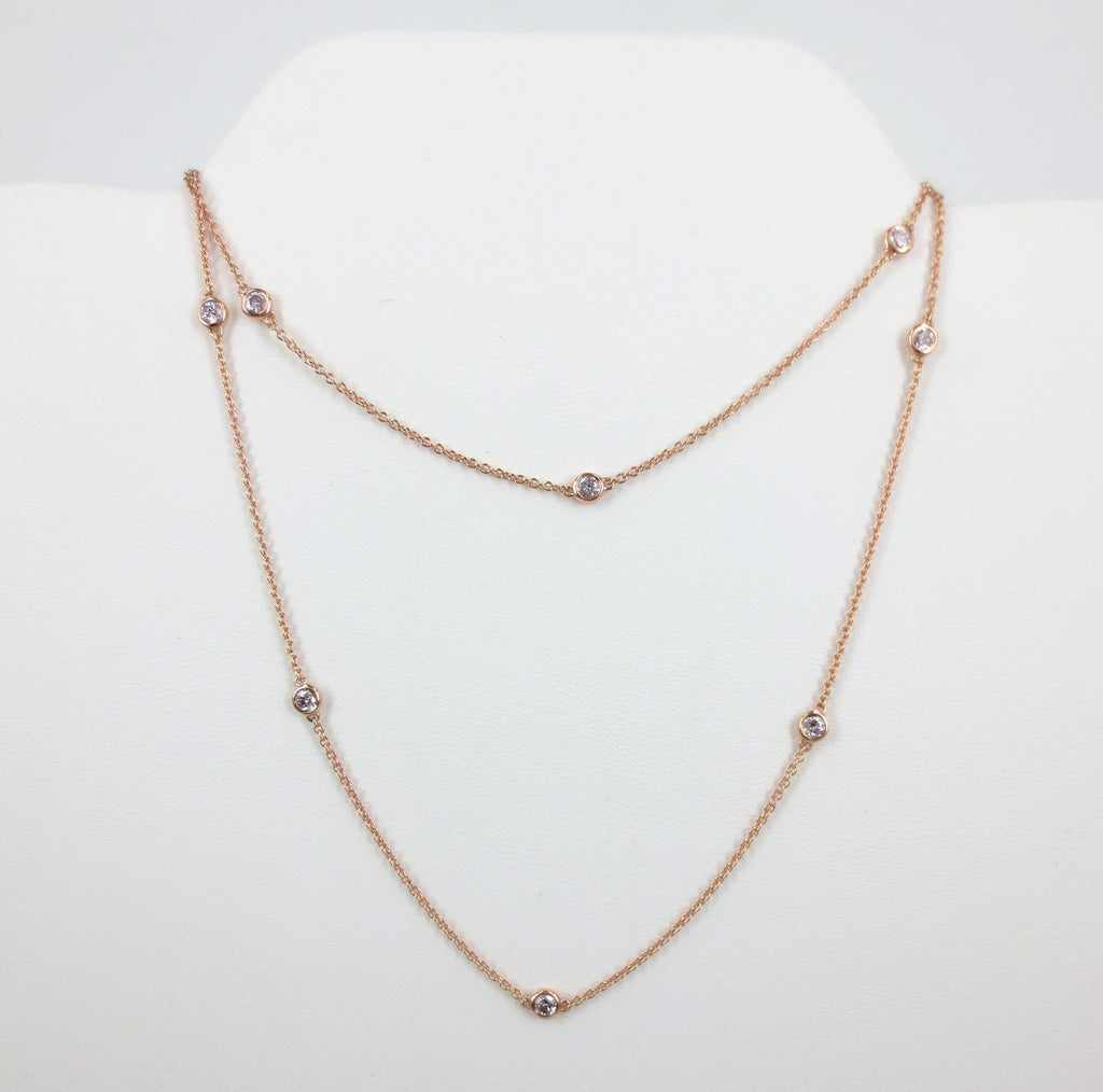 Pink Diamond By The Yard Necklace - 18K Rose Gold - 0.55cts T.W