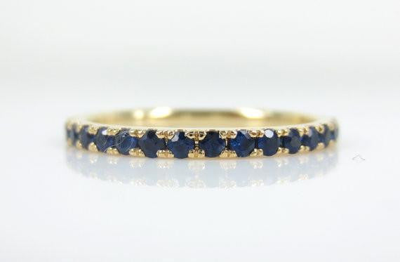 1.7mm Pave Blue Sapphire 18k Yellow Gold Eternity Band
