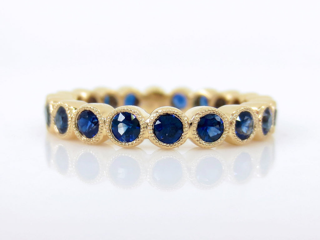 Blue Sapphire 18K Yellow Gold 3.2mm milgrain Bezel Eternity Band - Wedding Rings