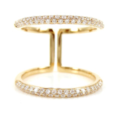Micro pavé Diamond Double Row dome Band Ring - 18K  Yellow Gold
