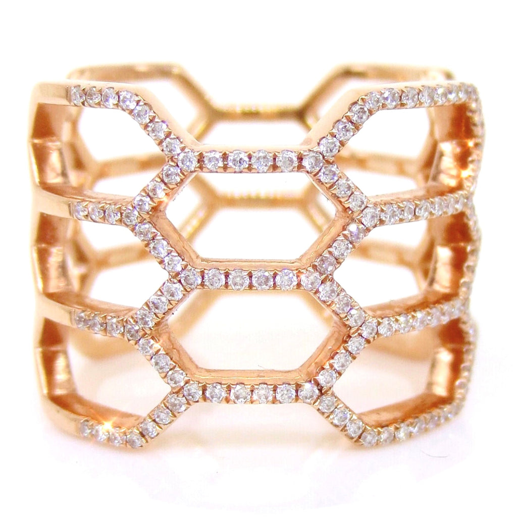 Micro Pave Diamond Long  Beehive Ring - 18K Rose Gold
