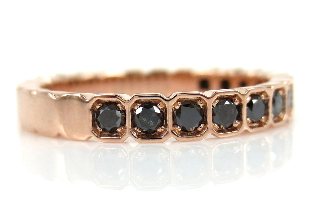 2.8mm Half-set Square Bezel Box Black Diamond Band - Wedding Band