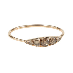 Seven-Stones Graduated Champagne Diamond Ring - 18K Rose Gold