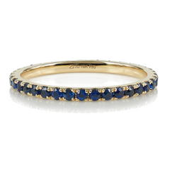 18K Rose Gold Blue Sapphire Eternity Band - 1.5mm