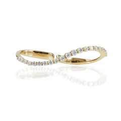 18K Yellow Gold Diamond Two-Fingers Wavy  Ring