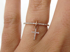 Diamond Pave Dangling Cross Charm Eternity Band - 18k Rose Gold