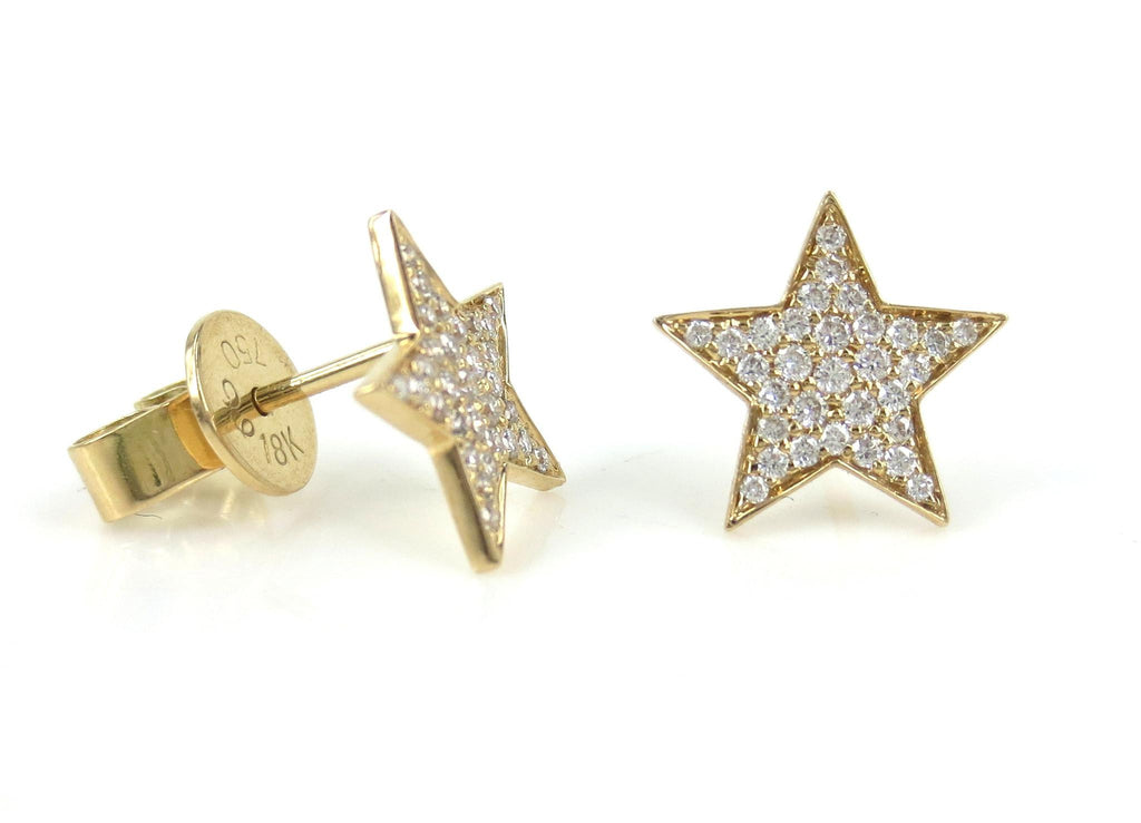 18k Yellow Gold Diamond Pave Star Stud Earrings.