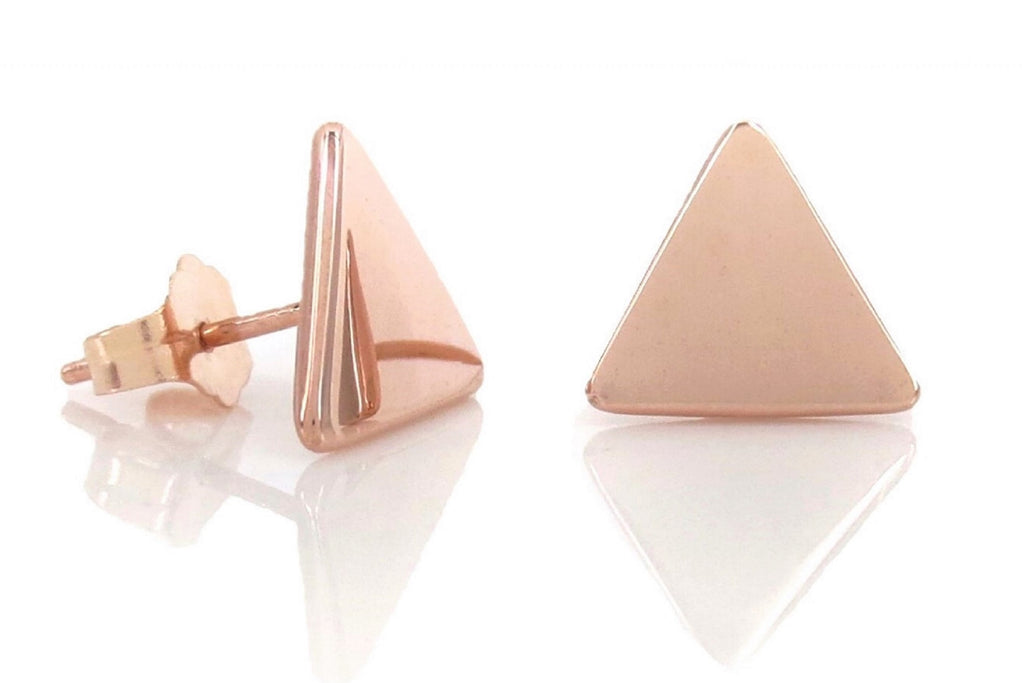14K Rose Gold Triangle Stud Earrings