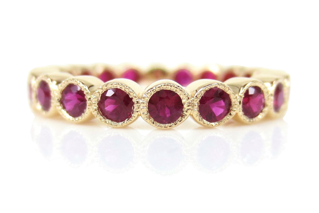 18K Yellow Gold Ruby Milgrain Bezel set Eternity Band - 3.2mm