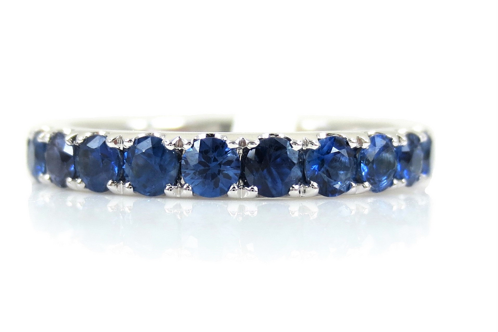 18K White Gold Blue Sapphire Eternity Band - 3mm