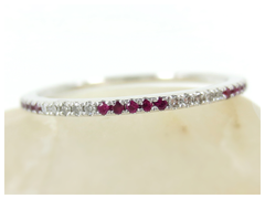 Diamond & Ruby Eternity Band - 18K White Gold