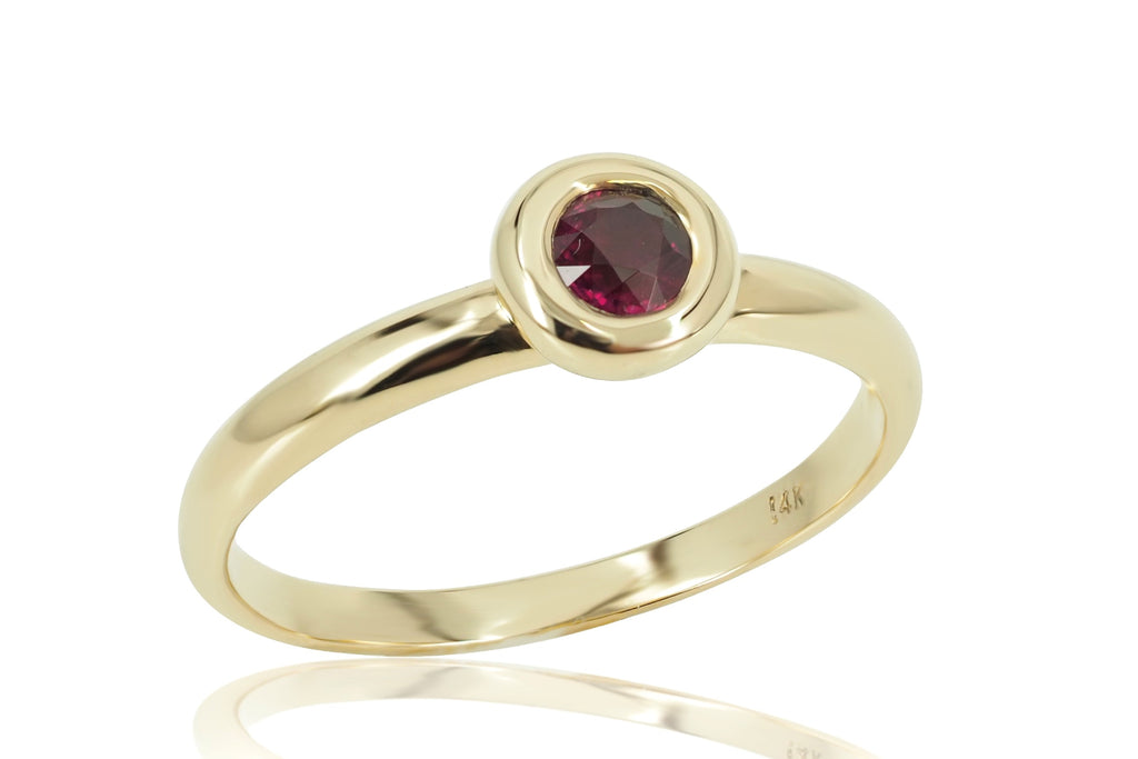 0.34 cts Bezel-Set Solitaire Ruby Ring - 14K Yellow Gold