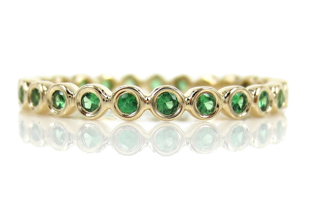 2.2mm Bezel Set Round Tsavorite Eternity Band in 14k Yellow Gold