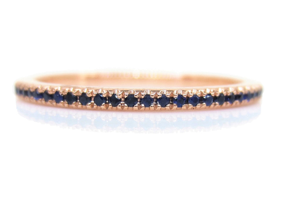 18K Rose Gold Dainty  Blue Sapphires Eternity Band